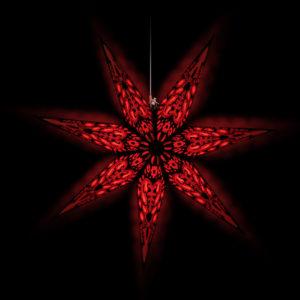 Weihnachtsstern Black Star (60cm) beleuchtet in rot bei Nacht