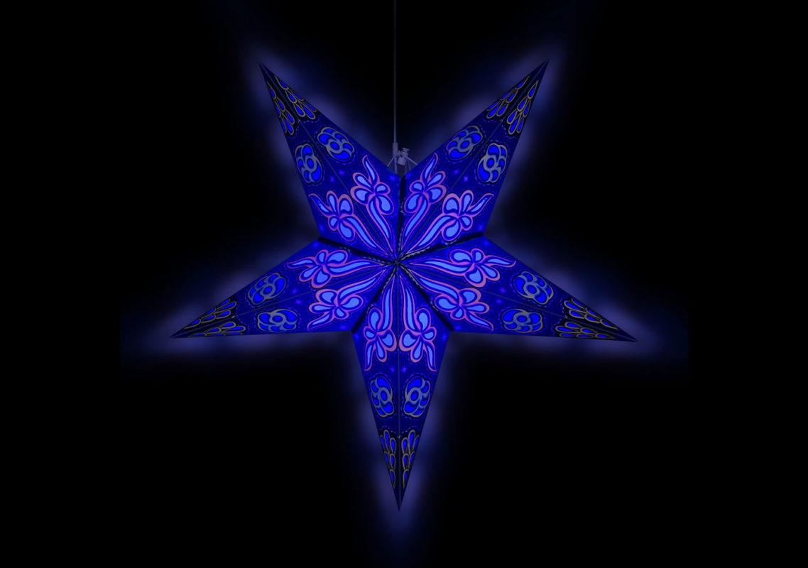 Weihnachtsstern Beleuchtung Baldur in blau